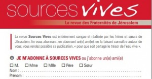 Sources vives bulletin d'abonnement